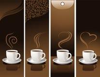 Banner met koffiekoppen Stock Afbeeldingen