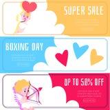 Banner met kortingen en verkoop met engelen en cupido's stock illustratie