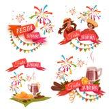 Banner met linten voor de partij die van Festa wordt geplaatst Junina Brazilië Vector illustratie Royalty-vrije Stock Fotografie