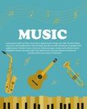 Banner met muzikale instrumentenpiano, saxofoon Gitaar Royalty-vrije Stock Foto's