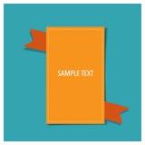 Banner met oranje lint, Vectorillustratie Stock Afbeelding