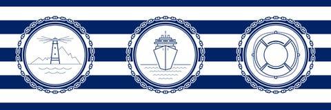 Banner met Overzeese Emblemen vector illustratie