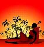 Banner met palmen en Afrikaans meisje Royalty-vrije Stock Afbeeldingen