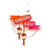 Banner met rood lint en Arabische lantaarn voor heilig Stock Afbeeldingen