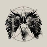 Banner met schedel van geit, vleugels en pentagram royalty-vrije illustratie