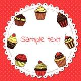 Banner met zoete cupcakes Royalty-vrije Stock Foto's