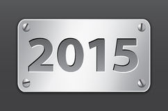 2015 banner. Metallic gray banner for 2015 year. Vector illustration Royalty Free Stock Image