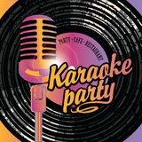 Banner with mic and vinyl record for karaoke party Stock Photo