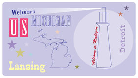 Banner Michigan with lighthouse Stock Photo