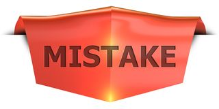 Banner mistake. Mistake 3D rendered red banner , isolated on white background Royalty Free Stock Photo