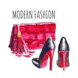 Banner with modern womens shoes and bag. Banner Modern Fashion. Watercolor vector illustration Stock Image