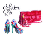 Banner with modern womens shoes and bag. Banner Modern life. Watercolor vector illustration Royalty Free Stock Image