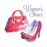 Banner with modern womens shoes and bag. Banner Womens shoes. Watercolor vector illustration Royalty Free Stock Images