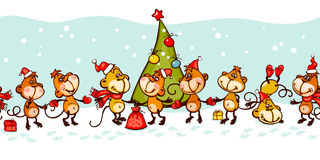 Banner 2016 monkey. Chinese zodiac banner 2016 with the monkey and christmas tree Royalty Free Stock Photography