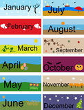 Banner for Months of the Year. 12 Banners which can be used for months of the year vector illustration