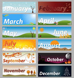 Banner months of the year  set. Illustration of a banner set representative the months of the year,isolated on grey background.EPS file available Royalty Free Stock Photo