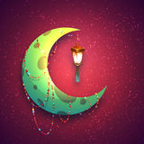 Banner with moon and arabic lantern for holy month Royalty Free Stock Photo