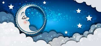 Banner Moon Sleeping In The Clouds. And Stars-transparency blending effects and gradient mesh-EPS 10 Royalty Free Stock Photo