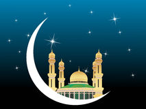 Banner of mosques in over bright night sky Stock Image