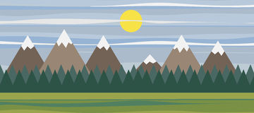 Banner with mountain landscape Royalty Free Stock Images