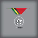 Banner Mozambique with national symbols flag Stock Image