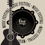 Banner for music festival with speaker and guitar Royalty Free Stock Photo