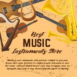 Banner of music instruments for shop or store. Notes behind music instruments, sound equipment, audio accessories. Violin with bow or fiddlestick, lyra and stock illustration