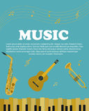 Banner with musical instruments piano, saxophone. guitar. Banner with musical instruments piano, guiter, saxophone royalty free illustration