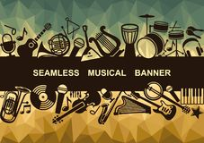Banner with musical instruments. Banner with silhouettes of musical instruments. Vector Illustration Stock Images