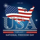 Banner of the National Day of Freedom of America. Vector. Creative banner or postcard of the national day of freedom in the US with a map of America Royalty Free Stock Photography