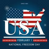 Banner of the National Day of Freedom of America. Vector. Creative banner or postcard of the national day of freedom in the US with a map of America Royalty Free Stock Images