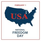 Banner of the National Day of Freedom of America. Vector. Creative banner or postcard of the national day of freedom in the US with a map of America Royalty Free Stock Photos