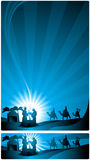 Banner nativity scene. The three wise men and the child Jesus. Two versions, one in letter format and a horizontal format for Internet banner Royalty Free Stock Images