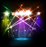 Banner neon light stage background. For your text Stock Image