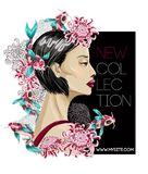 Banner for new collection with Japanese fashion girl, flowers chrysanthemum and koi fish. vector trendy illustration. Banner for new collection with Japanese Stock Image