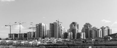 Banner of New Neighborhood - Concept of Modern Residenti. Banner in black and white - Urban high rise Modern Residential concept. Panoramic view of New Stock Photos
