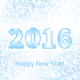 Banner New Year 2016. Ice figures 2016 on winter window with abstract pieces ice Vector Illustration