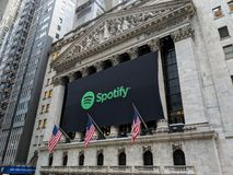 Stock Exchange. Banner on the New York Stock Exchange announcing the IPO of the streaming music service Spotify stock images