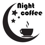 Banner for a night cafe. A cup of coffee, the moon and stars. Is. Close up of coffee cup With the moon and the stars on white background. concept-night coffee royalty free illustration
