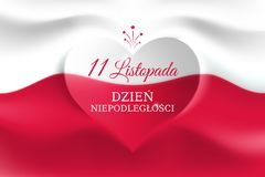 Free Banner November 11, Poland Independence Day, Vector Template Of The Polish Flag With Heart Shape. National Holiday. Background Stock Photography - 163158522