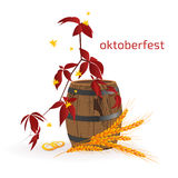 Banner for Octoberfest with autumn leaves, wooden barrel and ears of wheat. Stock Image