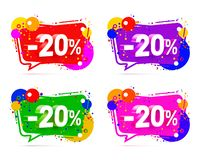 Banner 20 off. With share discount percentage, color set. Vector illustration stock illustration