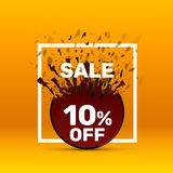 Banner 10 off. With share discount percentage. Vector illustration royalty free illustration