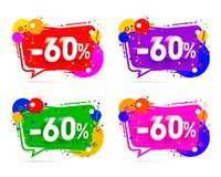 Banner 60 off with share discount percentage. Color set. Vector illustration royalty free illustration