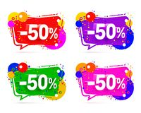 Banner 50 off with share discount percentage. Color set. Vector illustration stock illustration