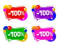 Banner 100 off with share discount percentage. Banner 100 off with share discount percentage, color set. Vector illustration royalty free illustration