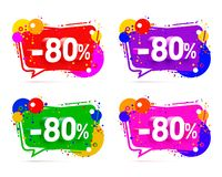 Banner 80 off with share discount percentage. Color set. Vector illustration royalty free illustration
