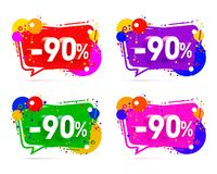 Banner 90 off with share discount percentage. Banner 90 off with share discount percentage, color set. Vector illustration royalty free illustration
