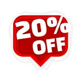 Banner 20 off with share discount percentage. Vector. Illustration royalty free illustration