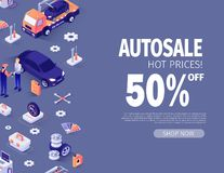 Banner Offering Autosale up to 50 Percent Off. Workshop Big Sale Concept. Vector 3d Illustration with Isometric Icons. Master and Customer, Evacuator, Tools stock illustration